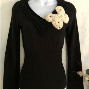 Anthropologie Sweater w Butterfly Appliqué